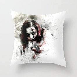 Watercolor Zombie, Horror Zombie, Cool Women Zombie Painting Throw Pillow