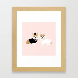 Corgi Bride and Groom - cute dog wedding, corgi wedding, dog, dogs, summer cute Framed Art Print