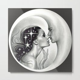 Moon Kiss (dark background) Metal Print