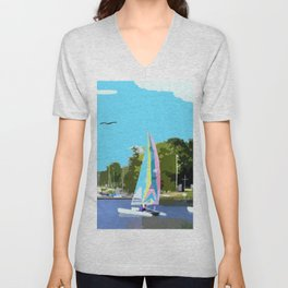 Sailboats on the lake  Unisex V-Neck
