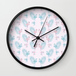 Pretty Pastel Flamingo Chevron Pattern #decor Wall Clock