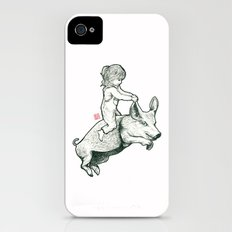 Girl on a flying pig iPhone (4, 4s) Slim Case