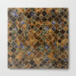 Quatrefoil Moroccan Pattern Brown Labradorite Metal Print