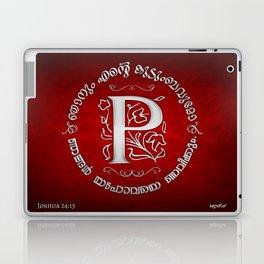 Joshua 24:15 - (Silver on Red) Monogram P Laptop & iPad Skin