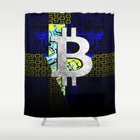 sweden Shower Curtains featuring bitcoin sweden by seb mcnulty