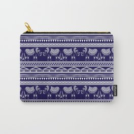 White and Navy Blue Elephant Pattern Carry-All Pouch