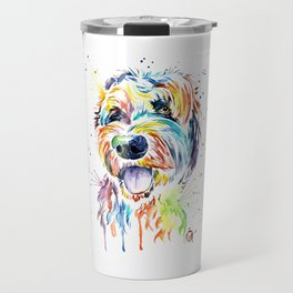 Goldendoodle, Golden Doodle Watercolor Pet Portrait Painting Travel Mug