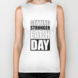 Lab No. 4 - Getting Stronger Each Day Gym Motivational Quotes Poster Biker Tank