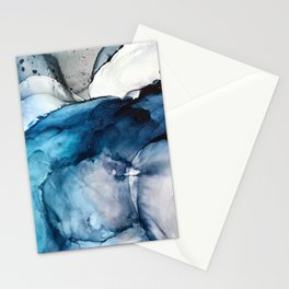 White Sand Blue Sea - Alcohol Ink Painting Stationery Cards