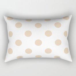 Polka Dots - Pastel Brown on White Rectangular Pillow