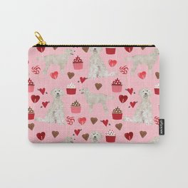Golden Doodle dog breed valentines day art pattern dog gifts for dog lovers hearts and cupcakes Carry-All Pouch