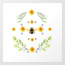 Bees in the Garden v.4 - Watercolor Graphic Art Print