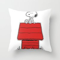 snoopy Throw Pillows featuring Snoopy by Simple Touch Apparel