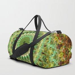 Mandala in green, yellow and red tones Duffle Bag