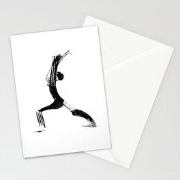 Moder black and white, minimalist ink figure yoga drawing, yoga illustration, yoga pose, yoga art Stationery Cards