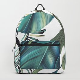 Tropical colorful background with leaves. Backpack