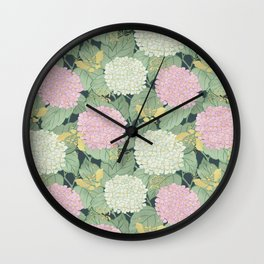 Hydrangeas and Butterflies - Such A Perfect Summer Day Wall Clock