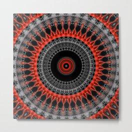 red black mandala Metal Print