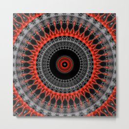 red black mandala Metal Print