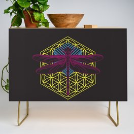 Dragonfly Flower of Life Credenza