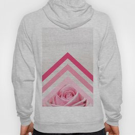Pink Rose on White Wood - Floral Romantic Geometric Design Hoody