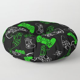 Video Games Green on Black Floor Pillow