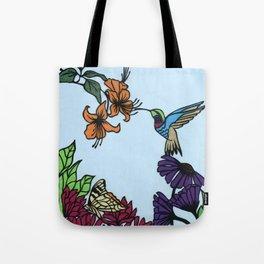 Hummingbird Garden Paper-cut  Tote Bag