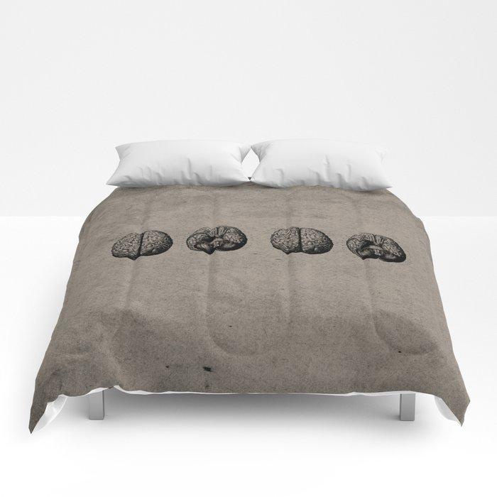 Row o' Brains - Engraving - Vintage - Old Black, White & Brown Comforters