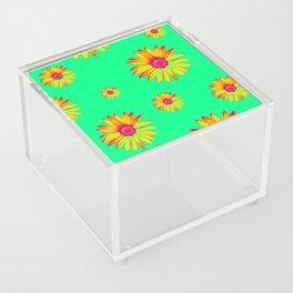 Flowers on Green Acrylic Box
