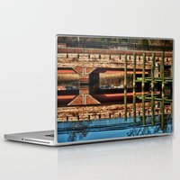 pagan Laptop & iPad Skins featuring Pagan River Bridge by Anthony M. Davis