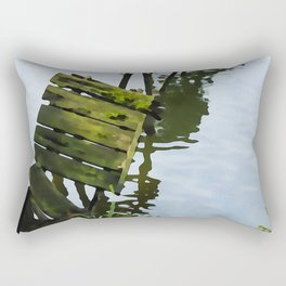 We Used To Fish Here | Lake Jetty Dock Pier - Watercolor Painting Rectangular Pillow