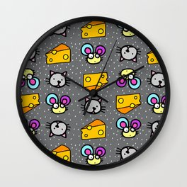Cat Mouse Cheese Wall Clock