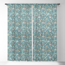 Sloth Hanging in a Teal Forest Sheer Curtain