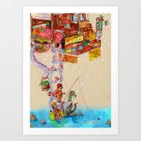 fishing Art Prints featuring Fishing by chechula