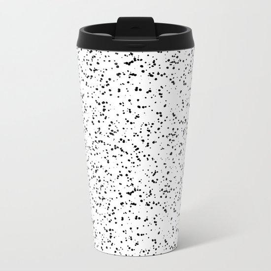 Speckles I: Double Black on White Metal Travel Mug