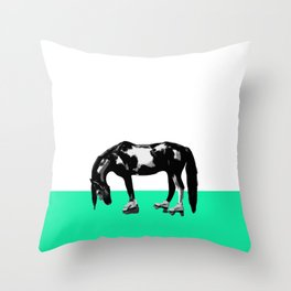 Funny Sad Skater Horse Throw Pillow