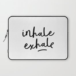 Inhale Exhale black and white contemporary minimalism typography print home wall decor bedroom Laptop Sleeve