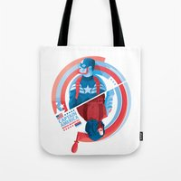 the winter soldier Tote Bags featuring The Winter Soldier by Florey