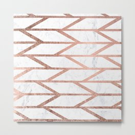 Modern faux rose gold herringbone chevron pattern Metal Print