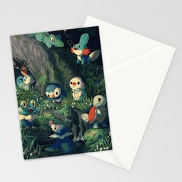 Water Starters Chilling In The Forest - Pocket Monsters Stationery Cards