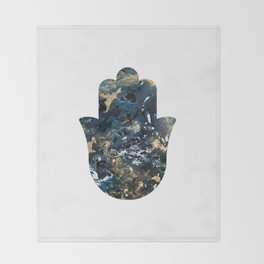 Hamsa in Outer Space Throw Blanket