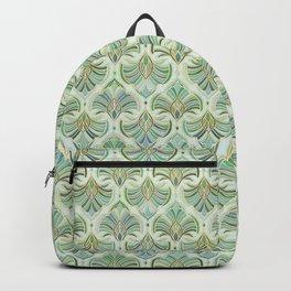 Jade Enamel Art Deco Fans Backpack