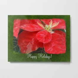 Mottled Red Poinsettia 1 Ephemeral Happy Holidays P1F1 Metal Print