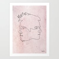 quibe Art Prints featuring One line Fight Club by quibe