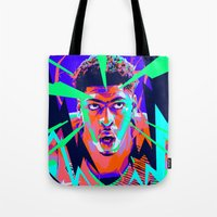 nba Tote Bags featuring Anthony Davis Nba illu V3 by mergedvisible