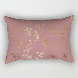 Mauve pink faux gold wildflowers illustration Rectangular Pillow