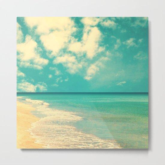 Retro beach and turquoise sky (square) Metal Print
