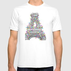 Paris Eiffel Tower Holiday Lights Multi MEDIUM White Mens Fitted Tee