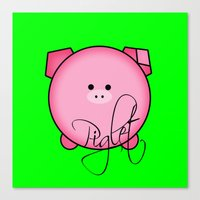 piglet Canvas Prints featuring Piglet by Miaa