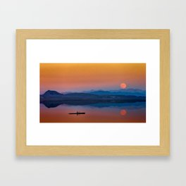 Kayaker on the Lake with Mountains and Setting Sun Framed Art Print
